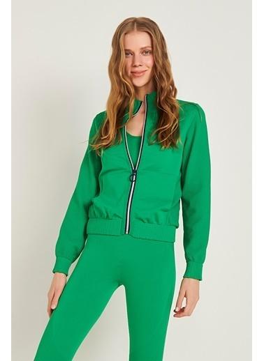Join Us Fermuarlı Triko Ceket Yeşil